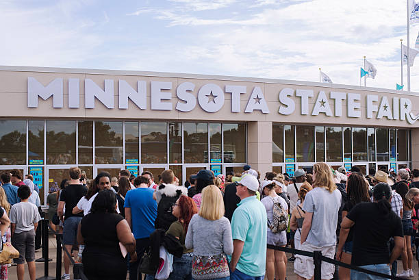 Entrance of crowded ticket booth at Minnesota State Fair stock photo