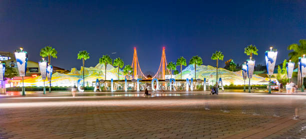entrance of Disneyland in the night after the last show in Annaheim stock photo