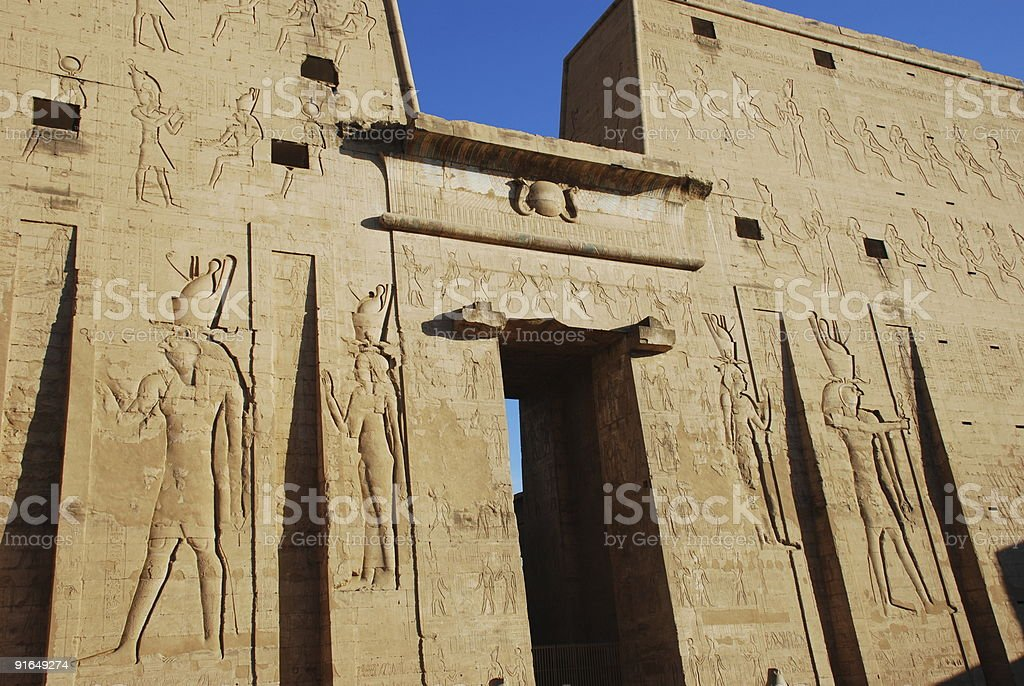 Entrance of Edfu Temple Egypt stock photo