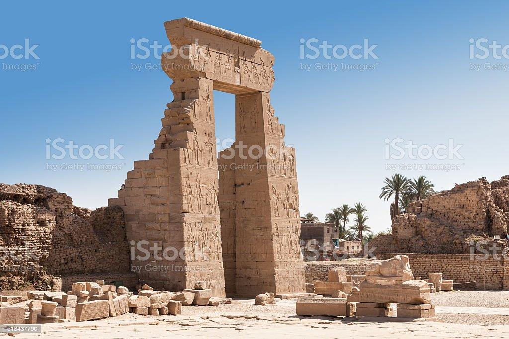 Entrance Of Egyptian Dendera Temple stock photo