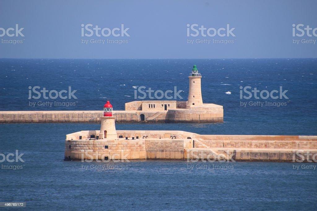 Entrance of Grand hardor in Valetta with lighthouses - Malta stock photo