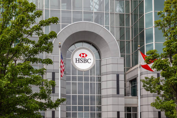Entrance of HSBC Atrium building in Buffalo, NY, USA. Buffalo, NY, USA - September 2, 2019: Entrance of HSBC Atrium building in Buffalo, NY, USA. HSBC Holdings plc is a British multinational investment bank and financial services holding company. hsbc stock pictures, royalty-free photos & images
