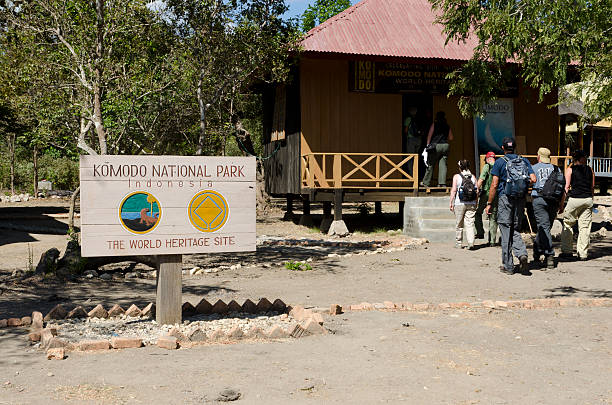 Entrance of Komodo National Park stock photo