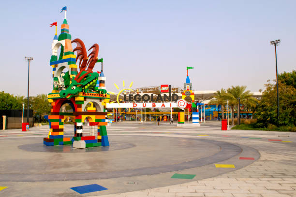 Entrance of Legoland at Dubai Parks and Resorts. stock photo