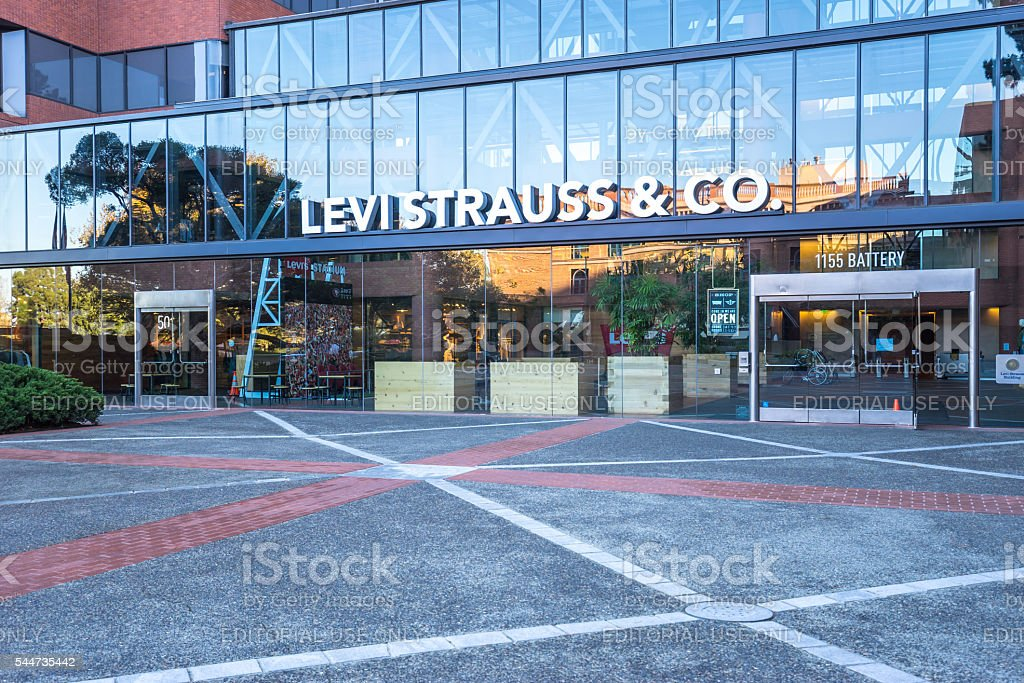 entrance of Levi's office building stock photo