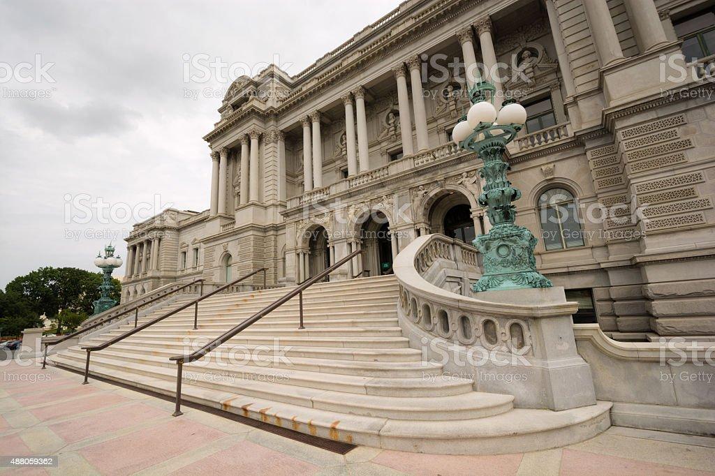 Entrance of Library of Congress in Washington, DC stock photo