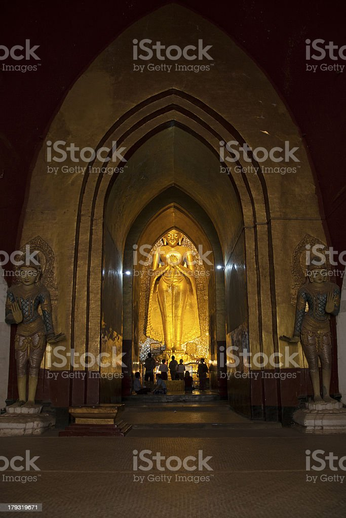 Entrance of main hall with the golden Buddha statue royalty-free stock photo