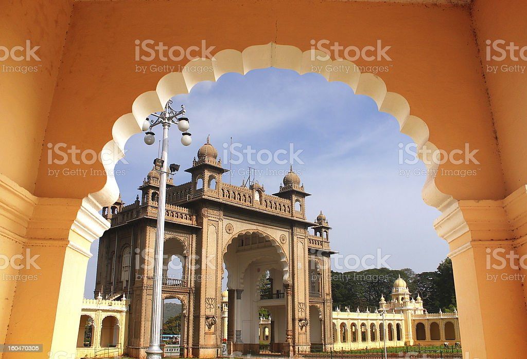 Entrance of majestic mysore palace from an arch stock photo