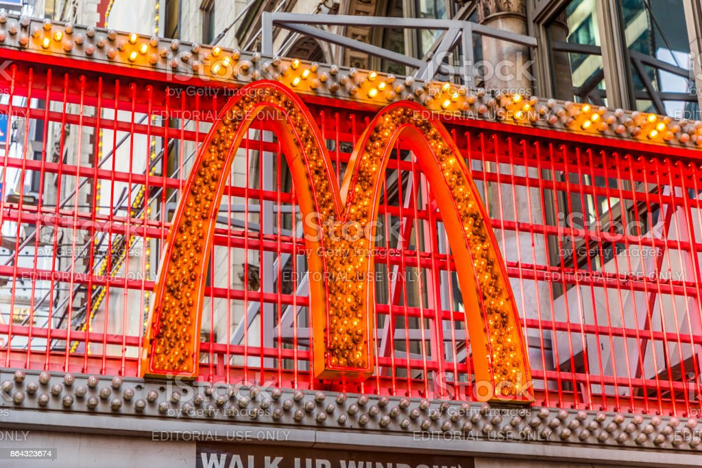 entrance of McDonalds fastfood restaurant at times square stock photo