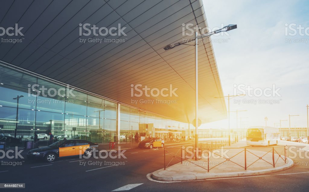 Entrance of modern airport terminal stock photo