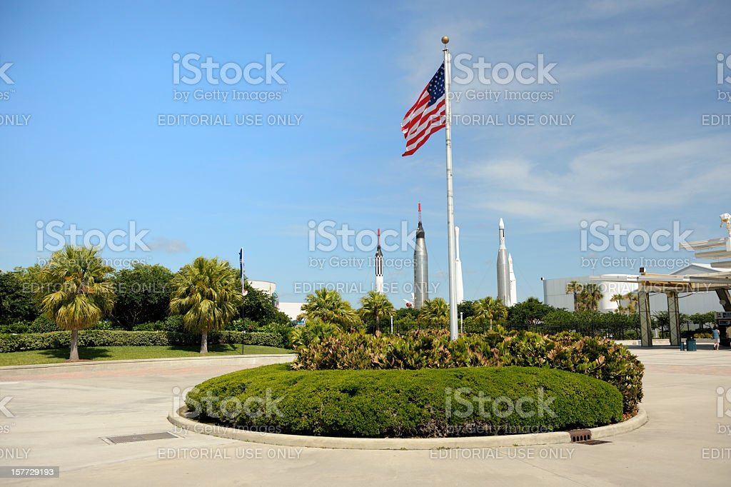 entrance of NASA Kennedy Space Center visitor complex stock photo