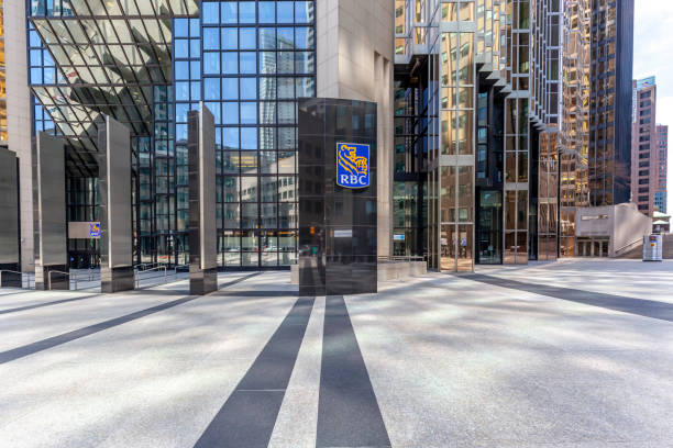 Entrance of RBC (Royal Bank of Canada) at head office in Toronto's financial district. stock photo