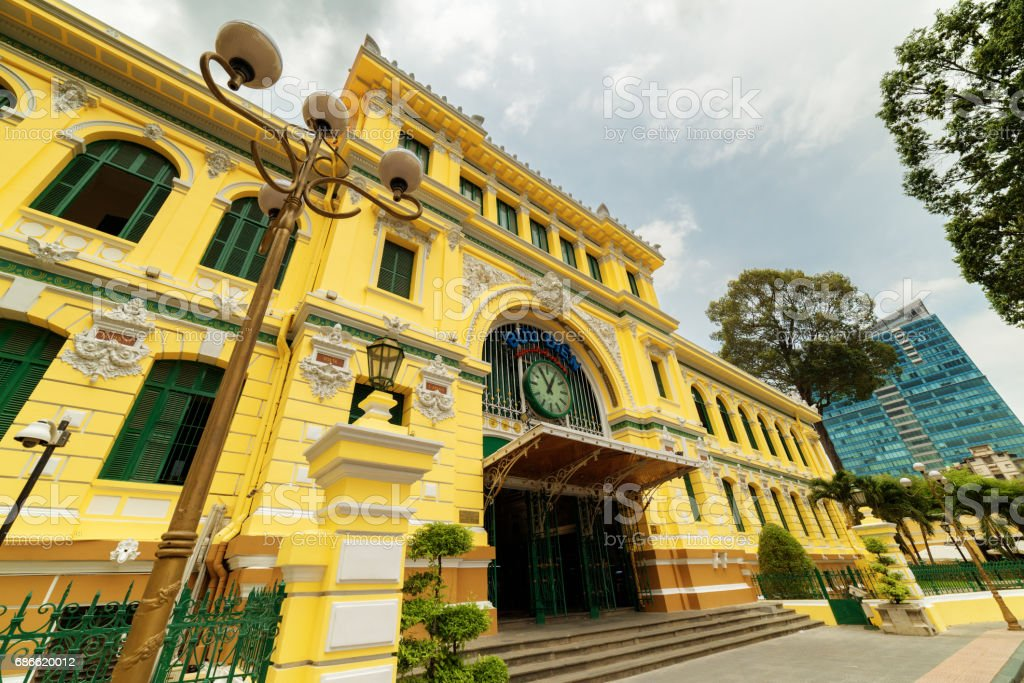 Entrance of Saigon Central Post Office in Ho Chi Minh, Vietnam royalty-free stock photo