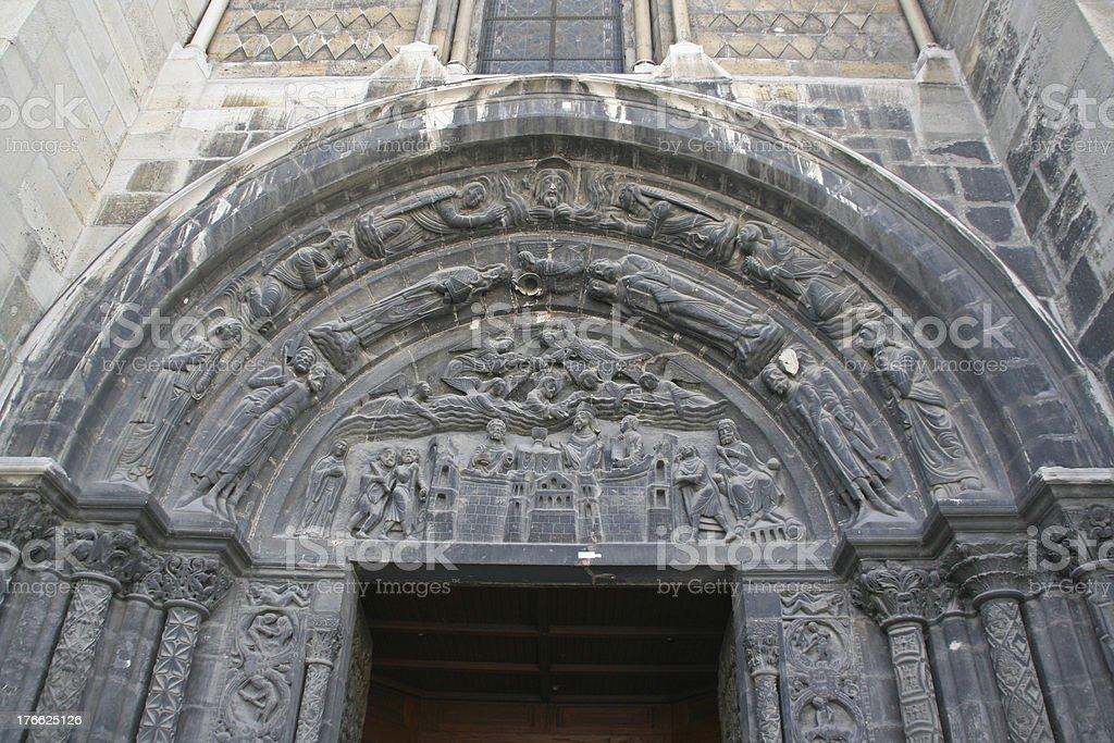 Entrance of Saint Denis Basilica - France stock photo