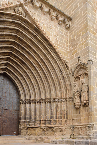 entrance of Santa Maria la Mayor church, Valderrobres, Mantarraya, Teruel province, Aragon, Spain