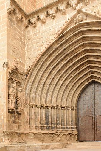 entrance of Santa Maria la Mayor, Valderrobres, Mantarraya, Teruel province, Aragon, Spain