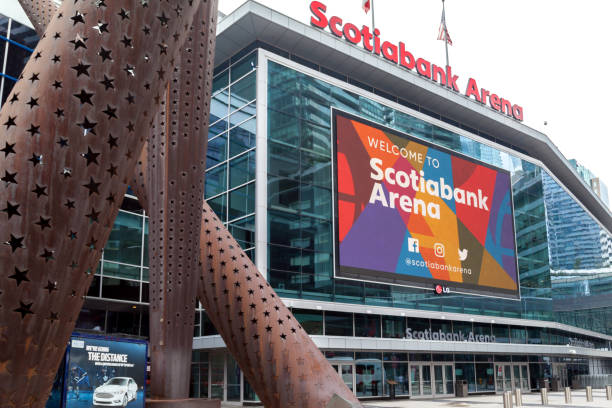 Entrance of Scotiabank Arena in Toronto. stock photo