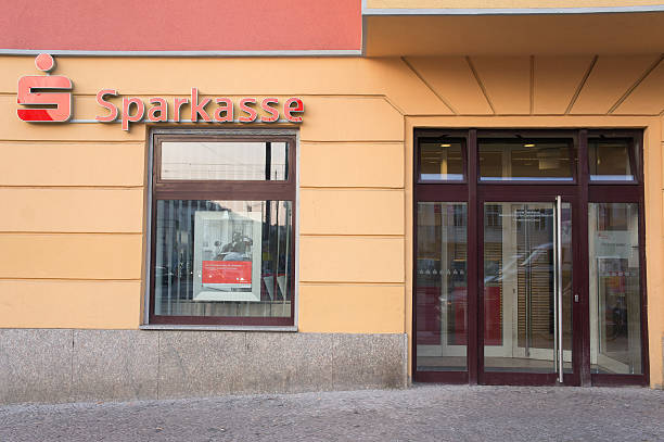 Entrance of Sparkasse bank stock photo
