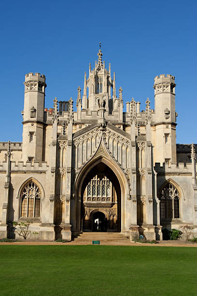 entrance of st john's college - cambridge university stock photos and pictures