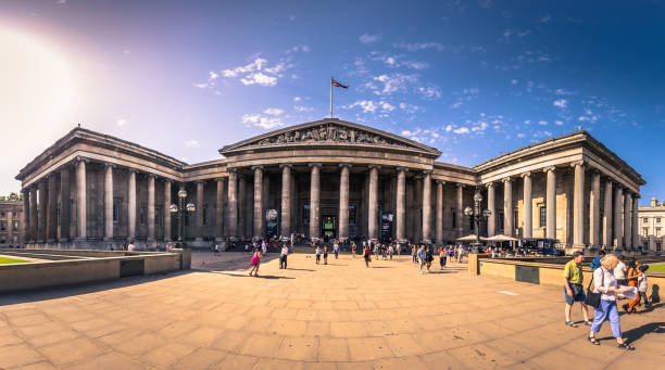 London - August 06, 2018: Entrance of the British Museum in London, England stock photo