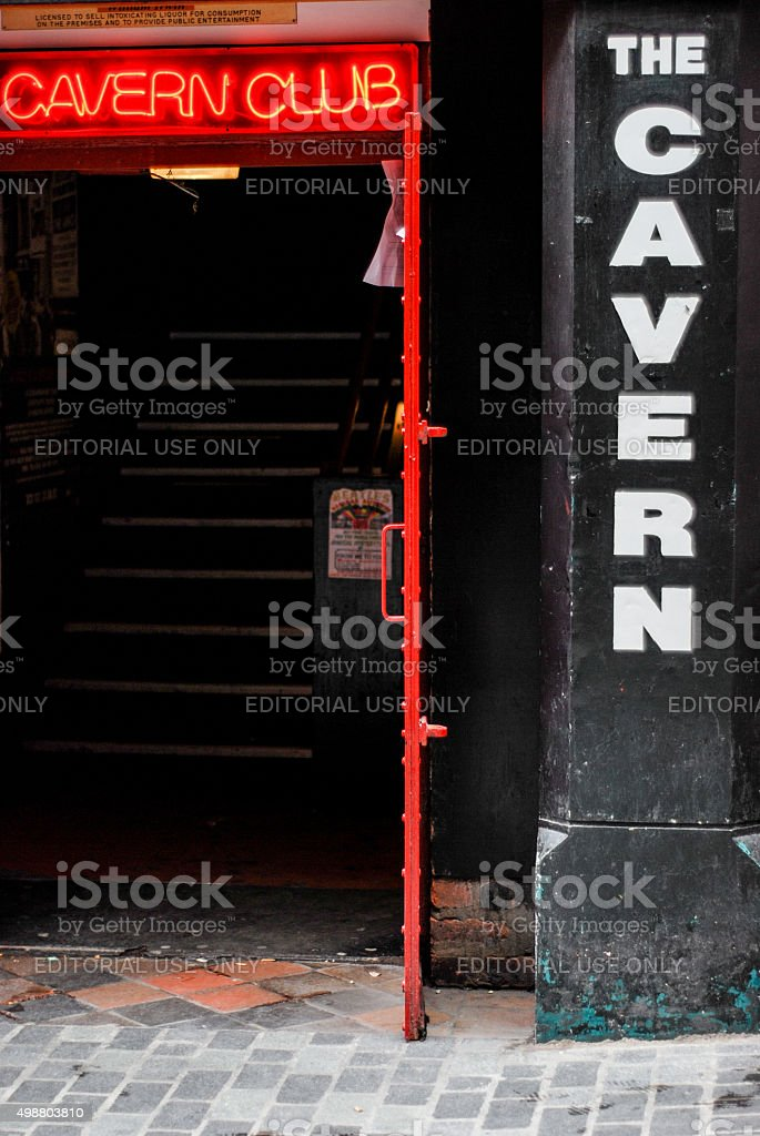 Entrance of The Cavern club in Liverpool Mathew Street. stock photo