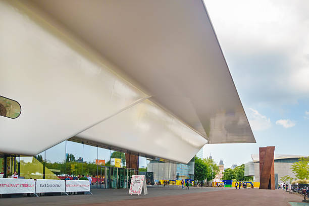 Entrance of the famous Stedelijk Musem in Amsterdam Amsterdam, The Netherlands - June 26, 2014: Entrance of the famous Stedelijk Musem in Amsterdam located in the museum park, The Netherlands museumplein stock pictures, royalty-free photos & images