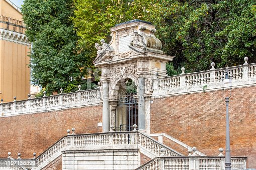Entrance of the Giardini di Montecavallo at Rome city, Italy. It is a public park near the Quirinale Palace.