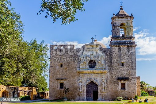 The Beautiful Intricately Carved North Entrance of the Historic Old West Spanish Mission San Jose, Founded in 1720, San Antonio, Texas, USA.  Part of a National Park System.
