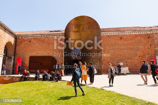 Venice, Italy - May, 10: Entrance of the Italian pavilion at the Arsenale during the 58th International Art exhibition of Venice biennale titled May You Live In Interesting Times on May 10, 2019