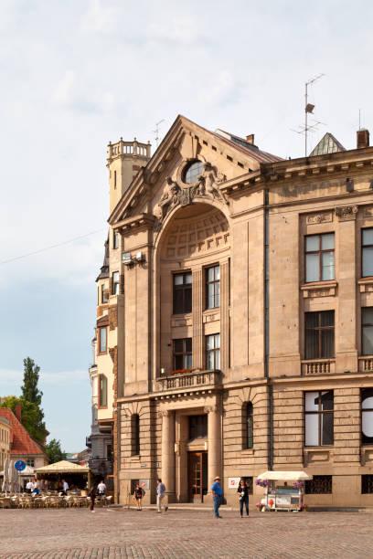 Entrance of the Latvijas Radio in Riga stock photo