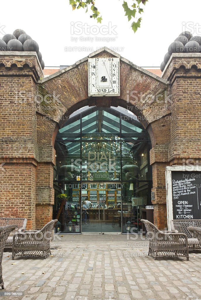 Entrance of the London historic pub Dial Arch stock photo