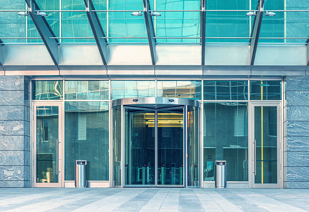 entrance of the modern building. - entrance stock photos and pictures