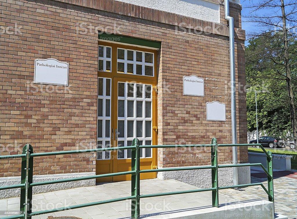 entrance of the pathology building royalty-free stock photo
