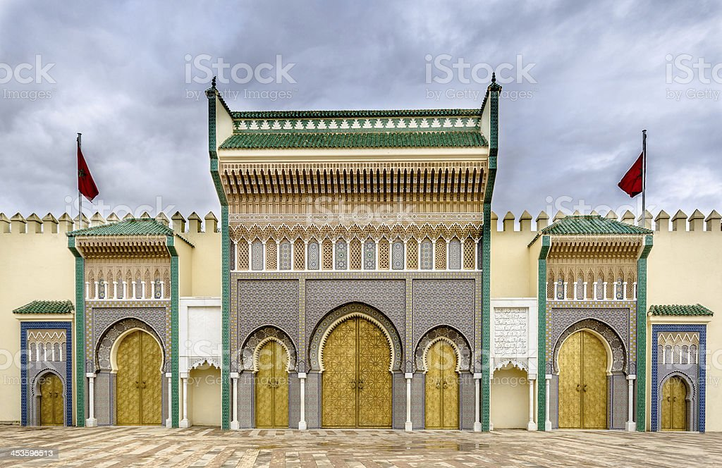entrance of the royal palace, Fez stock photo