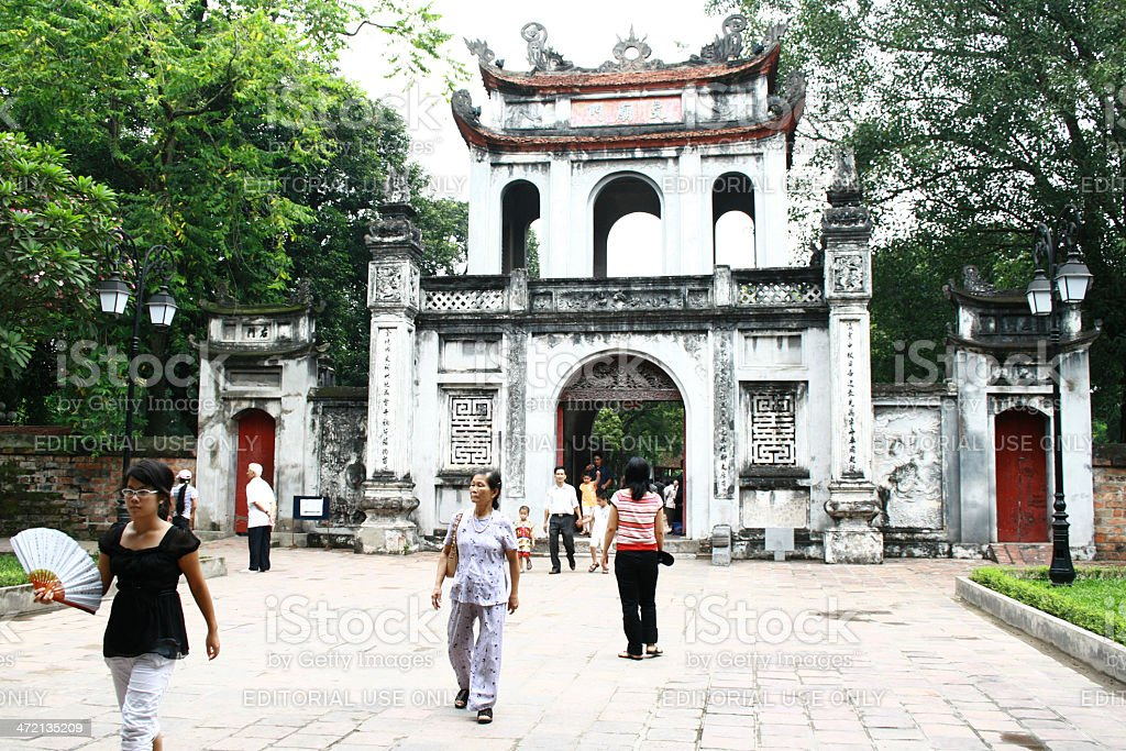 Entrance of the Temple Of Literature in Hanoi stock photo