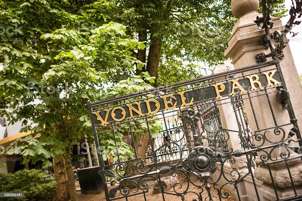 Entrance of the Vondelpark in amsterdam stock photo