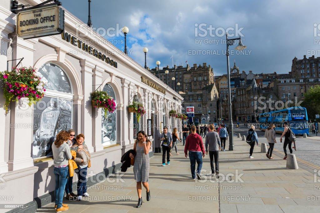 entrance of the Waverly Station in Edinburgh, UK stock photo