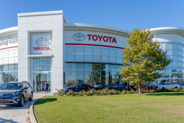 Entrance of Toyota at Don Valley North showroom in Markham, Canada. stock photo