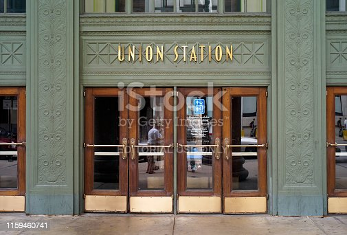 Chicago, Illinois, USA - July 25 2009: Entrance of Union Station. A major railway station in Chicago, Illinois, United States.