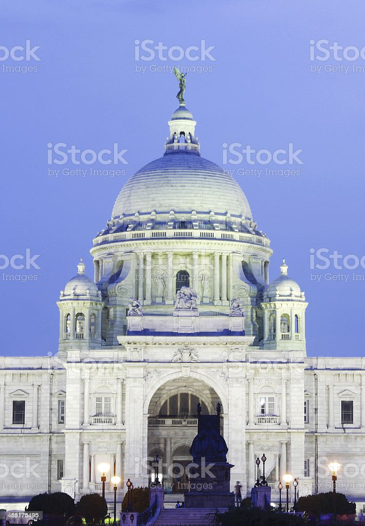 Entrance of Victoria Memorial hall at night stock photo