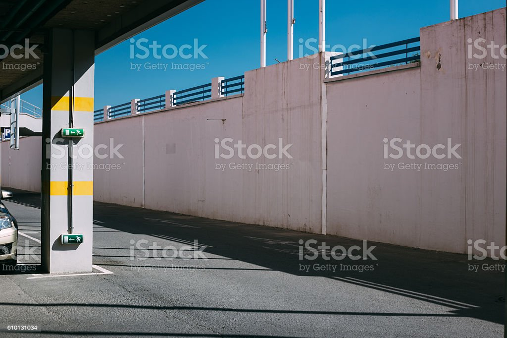 Entrance or exit of a Parking garage, idustrial background stock photo