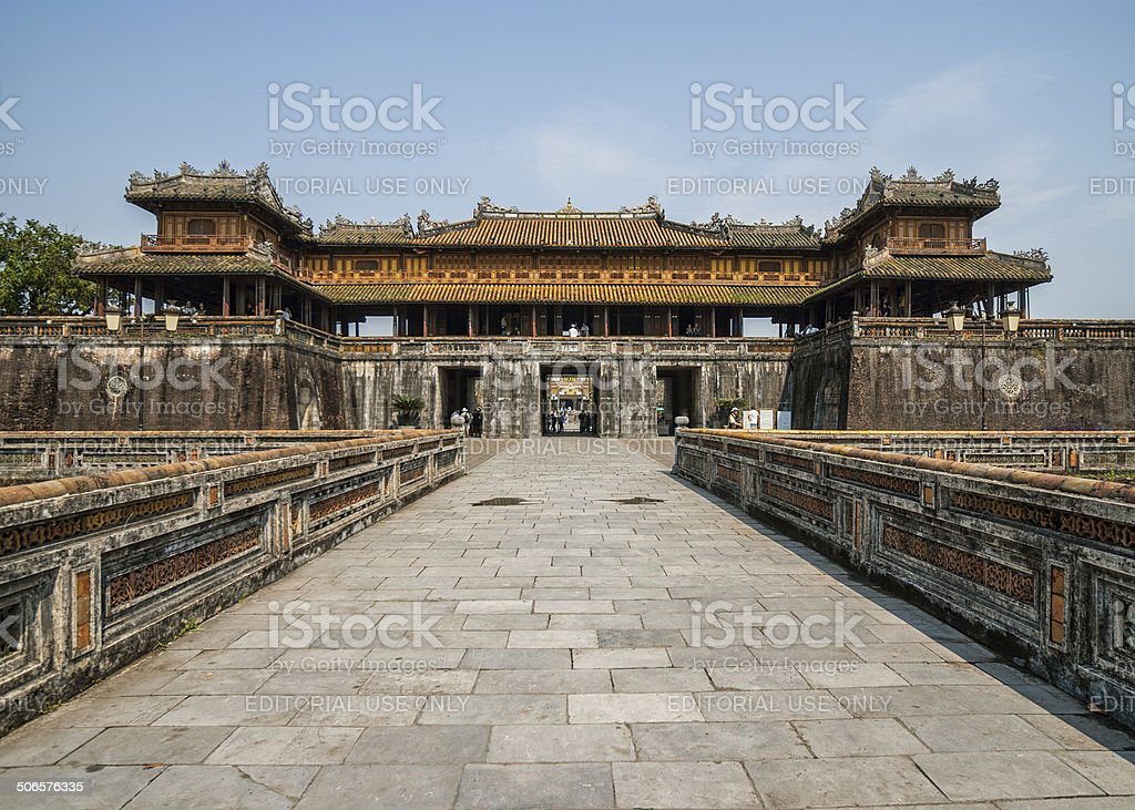 Entrance palace and gate to the Hué Citadel. stock photo