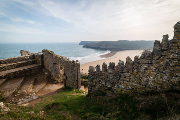 Entrance path to the stunning beach at Barafundle Bay stock photo