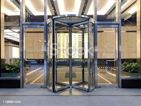 Building entrance detail in daytime