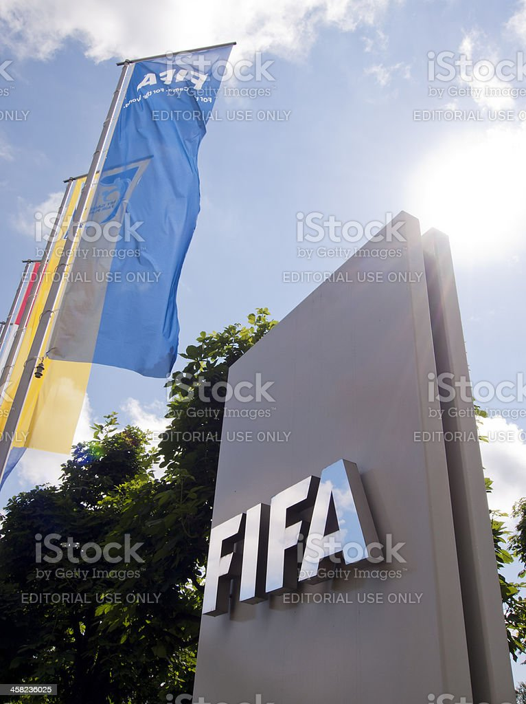 Entrance portal of FIFA headquarters in Zurich, Switzerland royalty-free stock photo