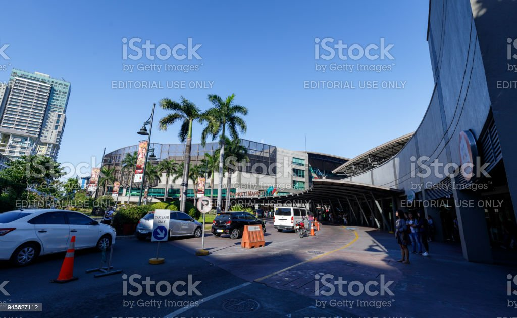 Entrance road view of Market! Market! in BGC, Manila city stock photo