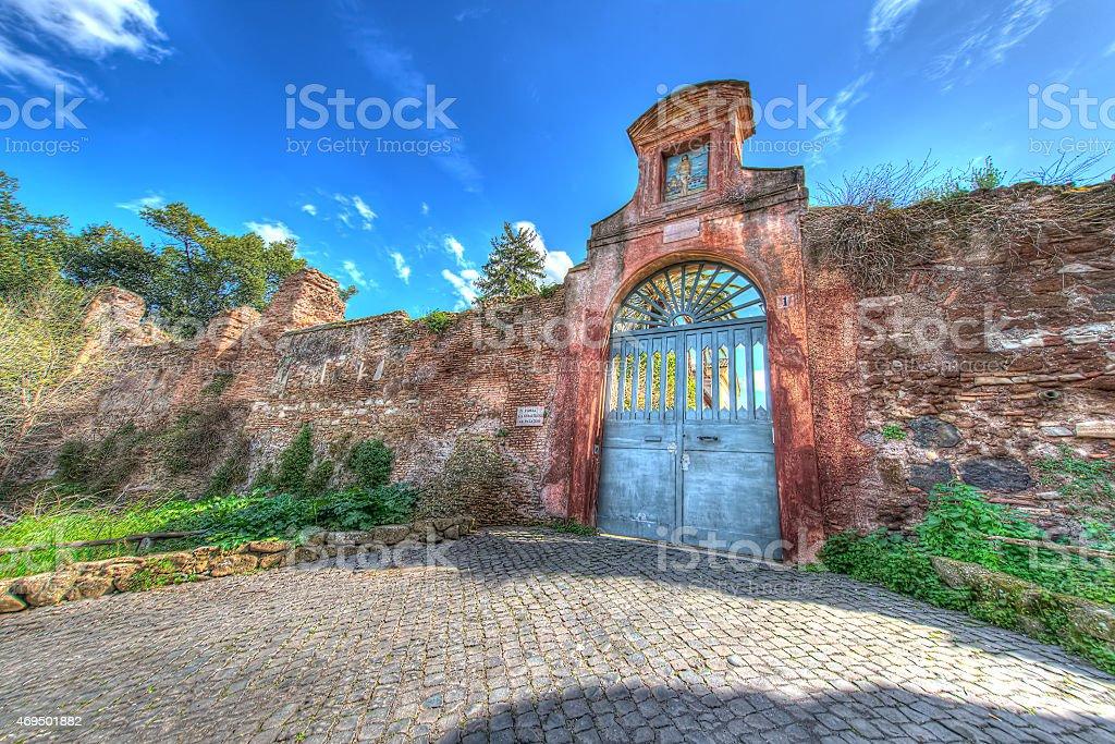 Entrance sacred Sebastian's church from Palatin, Rome, Italy - H stock photo