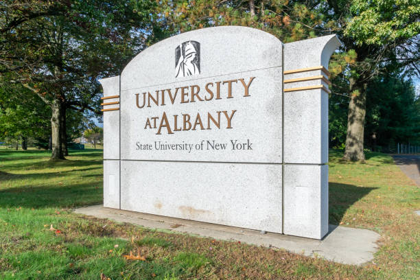 Entrance sign and logo at University at Albany, State University of New York stock photo
