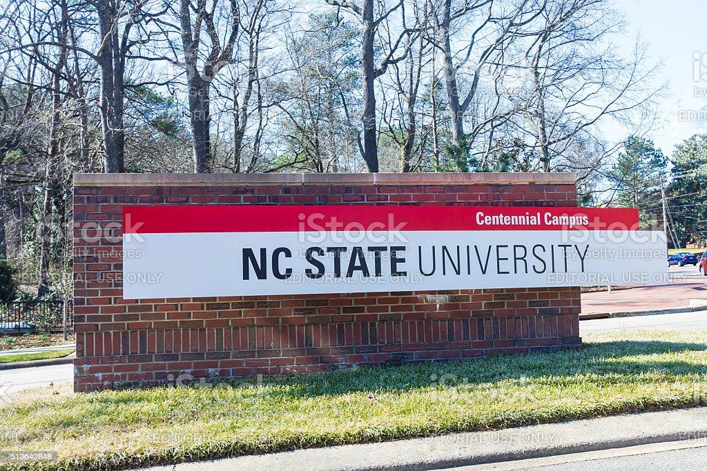 Entrance Sign at NCSU stock photo