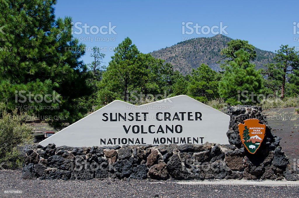 Entrance Sign at Sunset Crater Volcano National Monument stock photo